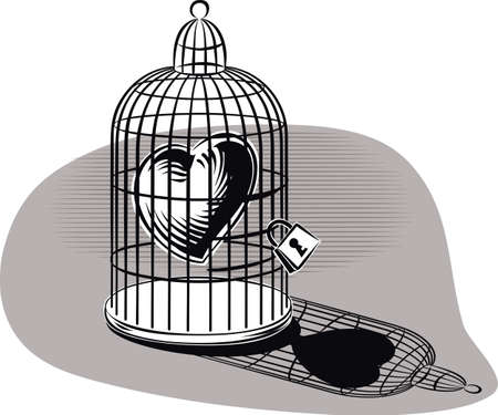 imprisoned: Heart imprisoned in a birdcage. Illustration