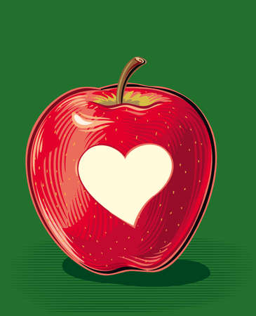 Ripe red apple with carved heart-shaped peel. Иллюстрация
