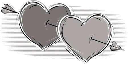 Two loving hearts pierced by Cupids arrow.