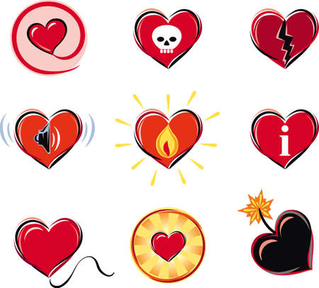 Series of heart-shaped symbols