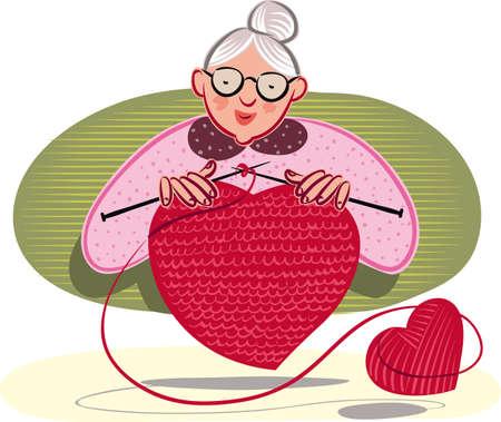 Grandmother who knits, a heart shape.