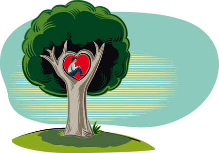 Man sitting in the branch of the tree of love in a heart shape