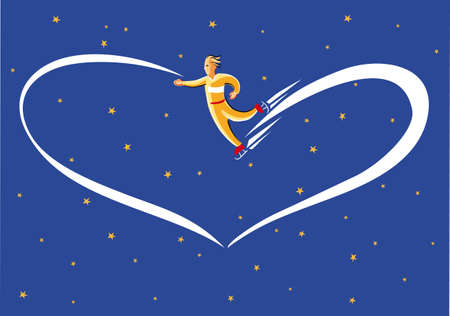 Skater dreamy leaves a trail of light heart-shaped