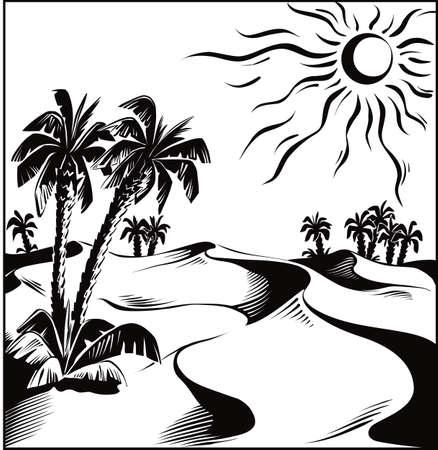アフリカの砂漠のオアシス  イラスト・ベクター素材