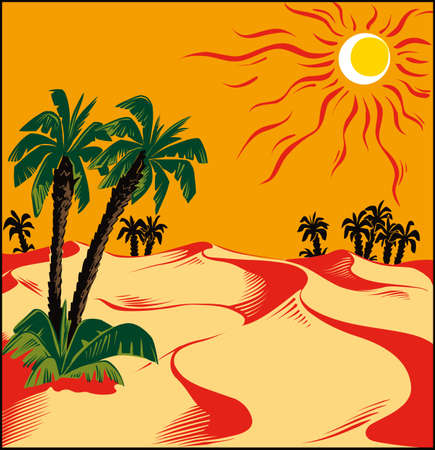 African desert oasis Illustration