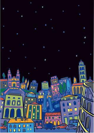 星空の夜にローマ