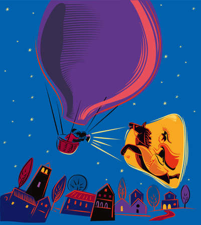 Night, from a balloon projecting a mythological film. Illustration