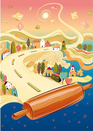様々 な種類のパスタ、家、木、麺棒の幻想的な風景