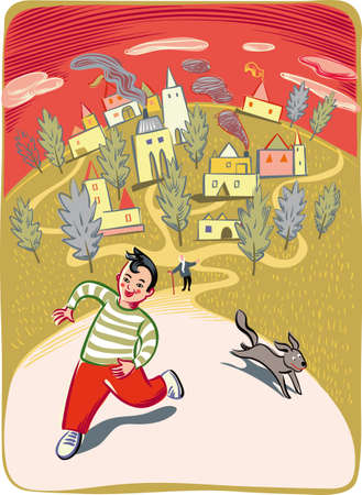 Boy runs on the road with his dog Ilustrace