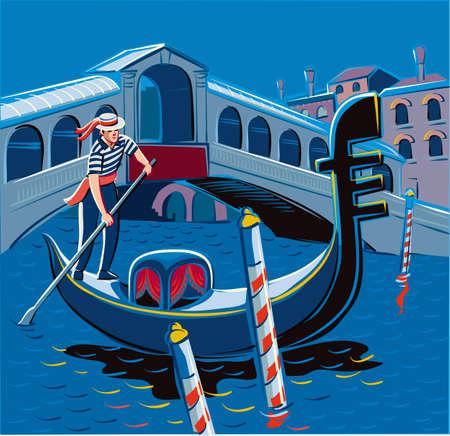 ヴェネツィアの大運河にゴンドラの夜。背景にはリアルト橋。  イラスト・ベクター素材