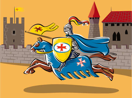 The medieval knight all-decked tournament, gallops fast riding his horse