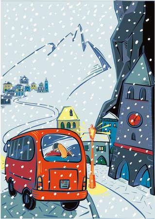 雪が降る中、山の村でバス  イラスト・ベクター素材