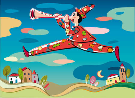 Pinocchio, the puppet with a leap flying over a village, playing his nose like a flute.