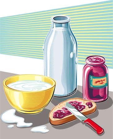 パン ジャムとミルクのカップの朝食。 写真素材 - 83368127