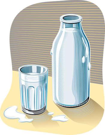 ガラスやテーブルに寄りかかって新鮮な低温殺菌牛乳のボトル。 写真素材 - 83368203