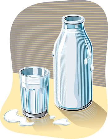 Glass and bottle of fresh pasteurized milk leaning on a table. Illustration