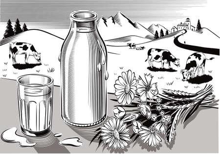 ガラスと新鮮な低温殺菌牛乳、野生の花と牛の放牧と農業景観の束のボトル。 写真素材 - 83368129
