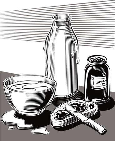 パン ジャムとミルクのカップの朝食。 写真素材 - 83368130