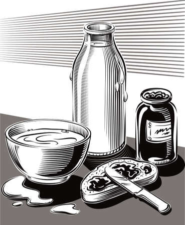 Breakfast of bread jam and a cup of milk. Illustration