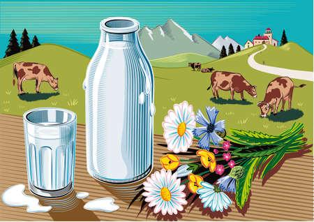 ガラスと新鮮な低温殺菌牛乳、野生の花と牛の放牧と農業景観の束のボトル。 写真素材 - 83368131
