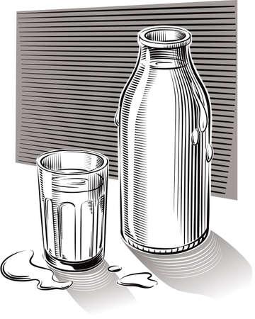 ガラスやテーブルに寄りかかって新鮮な低温殺菌牛乳のボトル。