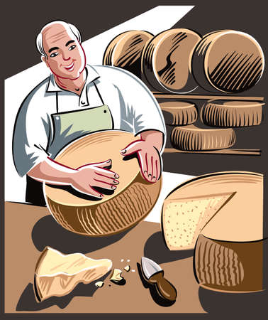 Cheesemaker controls a large wheel of cheese during ripening. Ilustrace