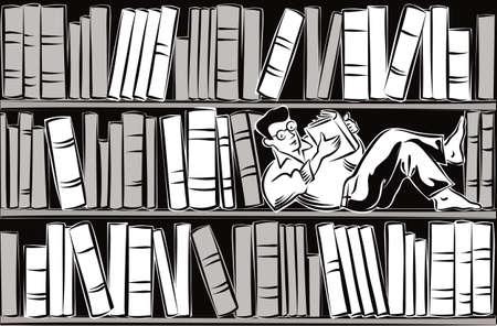 書棚の棚の横になっている若い男は、本、夢中で本を読んででいっぱい。