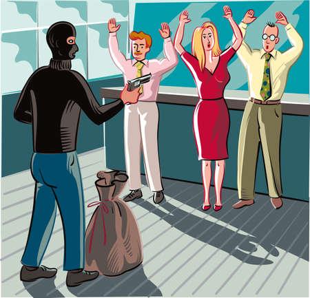 彼の顔と強盗は、現金を手にする社員を脅すバラクラバ、銀行の手に銃で覆われて。 写真素材 - 83429897