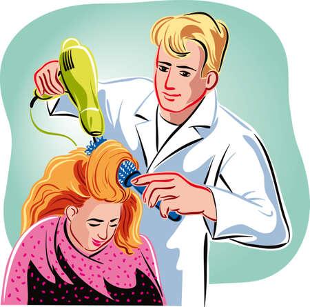 彼のスタジオは、asciugae は、クライアントに髪を櫛中で美容師。  イラスト・ベクター素材