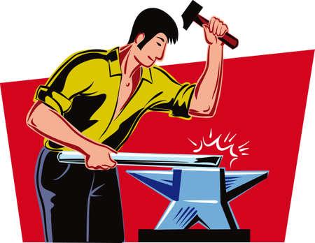 アンビルに鉄の棒を鍛造しながらの仕事で針金のような男。