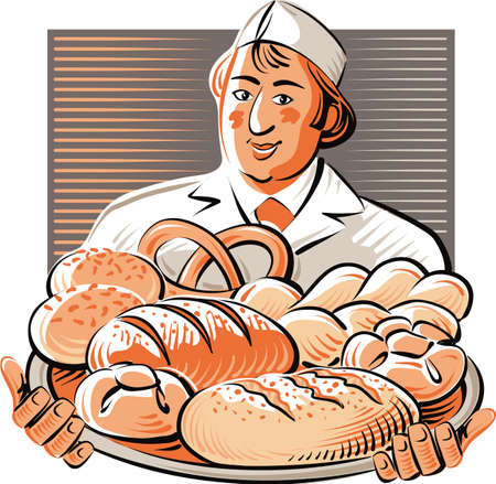 Baker holds a tray with different types of freshly baked bread.