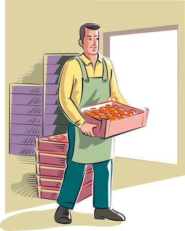 Young man moves on a crate full of oranges