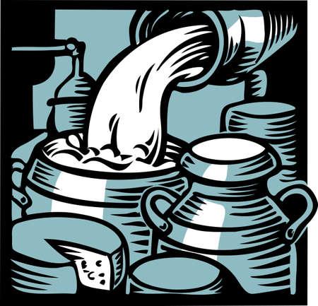 チーズを作るための乳製品、こぼれたミルク 写真素材 - 83429903