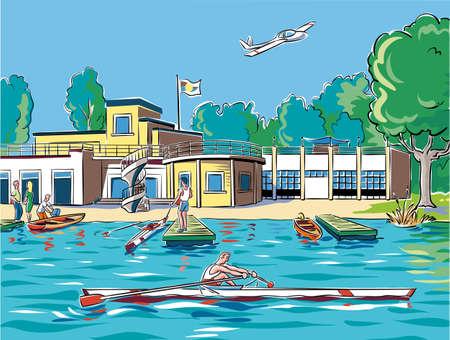 湖でボート センター
