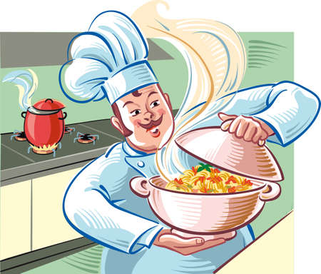 Cook shows us a bowl full of steaming spaghetti with tomato sauce. Illustration