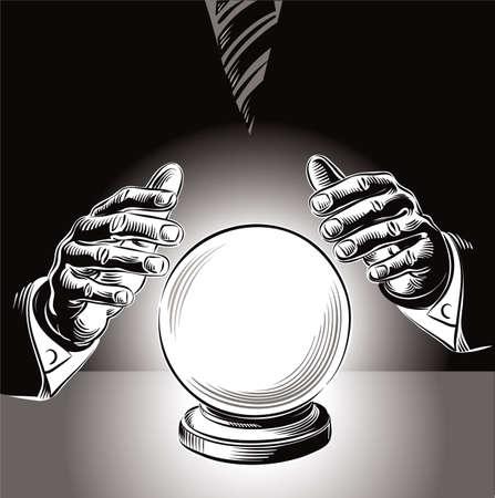 マネージャーは、水晶玉を調べます。理性的な決定の不可能性の比喩。 写真素材 - 83429910