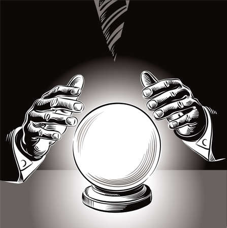 Manager consults the crystal ball. Metaphor of the impossibility of making rational decisions. Фото со стока - 83429910
