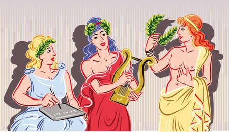 Drie van de negen klassieke Musen. De muze van de literatuur, de muze van muziek en de muze van het theater Stock Illustratie