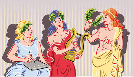 Three of the nine classical Muses. The muse of literature, the muse of music and the muse of the theater Фото со стока - 83429908