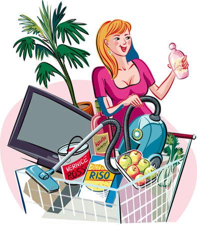 ショッピング モールでショッピング カートを押しながら若い女性。