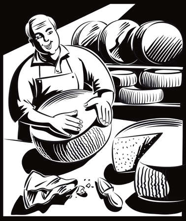 Cheesemaker controls a large wheel of cheese during ripening. Illustration