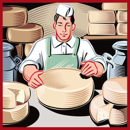 Young cheese maker, in a dairy farm, while controlling the ripening of certain types of cheese. Illustration