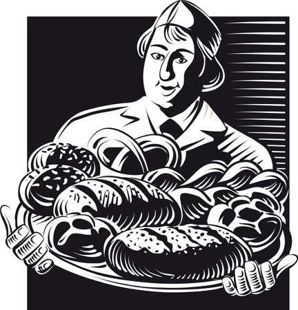 パンは、焼きたてのパンの種類とトレイを保持しています。 写真素材 - 83429923