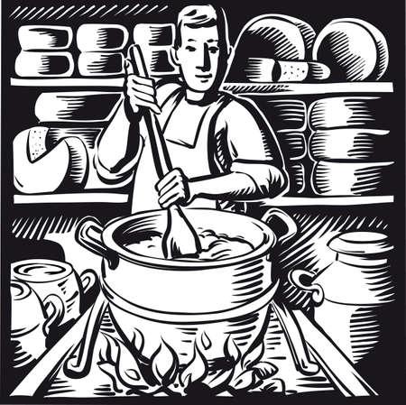Casaro, nel caseificio mescola la cagliata per fare il formaggio Archivio Fotografico - 83429925