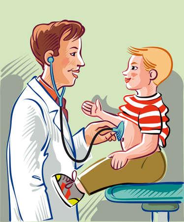 小児科医、金髪の子供を訪問します。  イラスト・ベクター素材