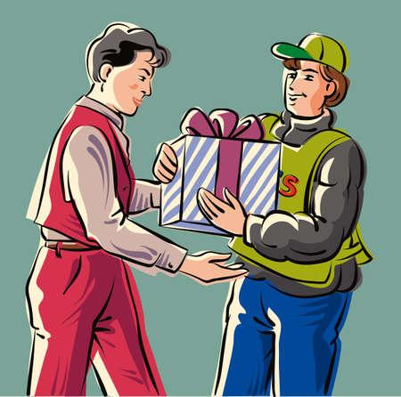 ベルボーイの人に小包を配信