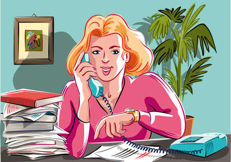 若い秘書、事務作業で水没した携帯電話で通話に応答します。 写真素材 - 83429930