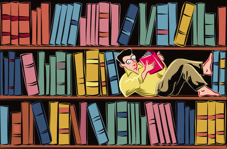 Young man lying on a shelf of a bookcase filled with books, completely absorbed in reading a book.