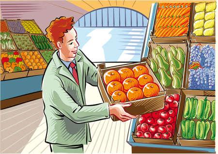 果物と野菜の市場、若い男、オレンジ色の箱を配置します。 写真素材 - 83429932