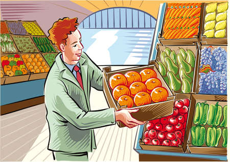 Fruit and vegetable market, a young man is positioning an orange crate.